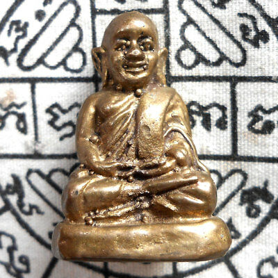 Genuine Phra LP. Ngern Lucky Thai Amulet Wealth Life Protect Holy Talisman Rich