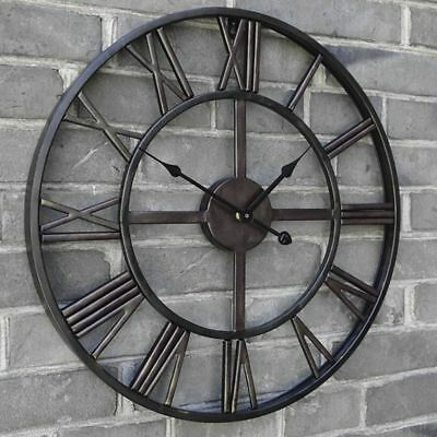 Roman Wall Clock Traditional Vintage Metal Roman Numeral Skeleton Black 60Cm