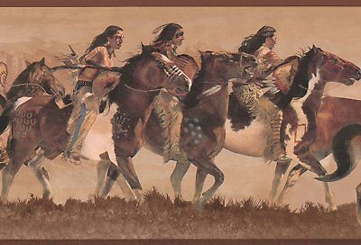 Native American Indian / Indians on the Hunt on Brown Wallpaper Border WD4162B