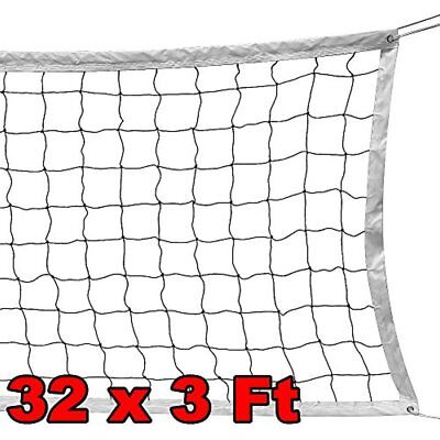 Volleyball Net W/ Steels Cable Rope Official Size Outdoor Indoor 32 FTx3