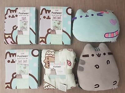 Pusheen Primark Single Double King Duvet bed cover Set with Cushions and Throw