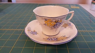 Crownford English Fine Bone China Cup and Saucer - Blue and yellow flowers