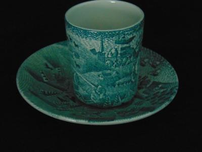 Nymolle Art Faience Hoyrup Limited Edition Green Cup & Saucer- Harbor & Villages