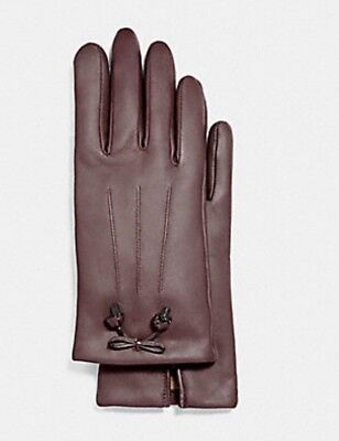 Coach Oxblood Women's Bow Leather Wool Lined Gloves F20887 Sz 7 -NWT $135