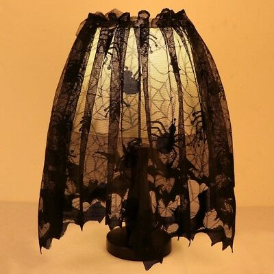 Gothic black lace bat spider lamp shade topper valance swag haunted gothic black lace bat spider lamp shade topper valance swag haunted house decor aloadofball Image collections