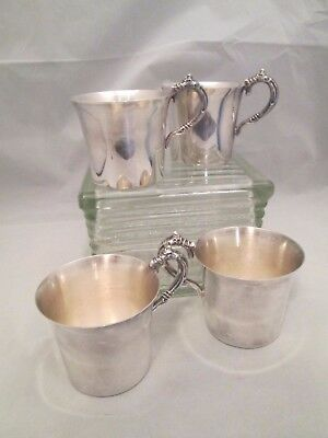 """Vintage Wallace Signed """"Harvest"""" SIlverplate Punch Cocoa Cider Cups Set 4 NICE!"""