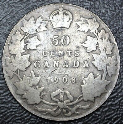 OLD CANADIAN COIN 1908 - 50 CENTS - .925 SILVER - Edward VII - Nice
