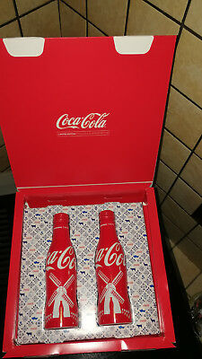 Coca Cola OLANDA 2017 BOX 2 bottiglie alluminio bottles alu coke new full piene