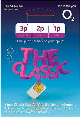 2 X O2 Classic Pay As You Go Sim Card Triple Cut For iPhone 6,7,8,X