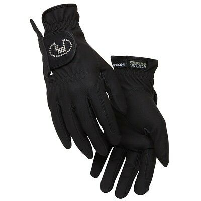 (6.5, Black) - Roeckl - ladies crystal riding gloves LISBOA. Shipping Included