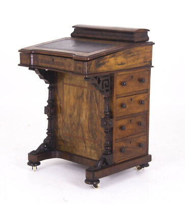 Antique Davenport Desk, Victorian Desk, Burr Walnut Desk, Scotland 1870, B929