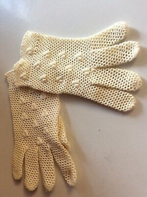 Vintage Women's Crochet Wrist Length Gloves, Made In Italy Original Tag