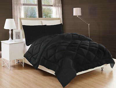 Black Solid Down Alternative Comforter Diamond Stitched Bed Cover 2/3Pc Set