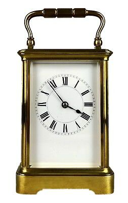 -HENRI JACOT, PARIS- C19th FRENCH BRASS/GLASS CASED TRAVEL CARRIAGE CLOCK 11658