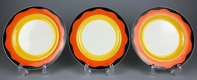 GRAYS POTTERY- c1930's ART DECO BANDED TRIP BLACK/ORANGE SIDE PLATE DISHES A187