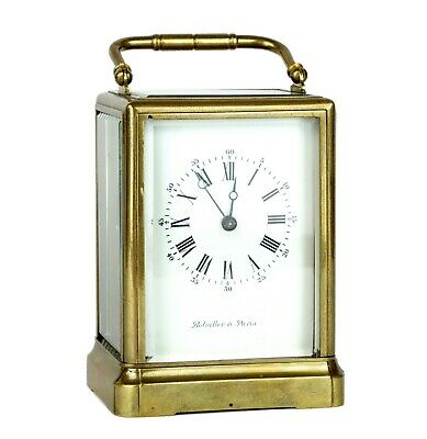 -BOLVILLER A PARIS- C19th FRENCH BRASS/GLASS CASED ENAMEL TRAVEL CARRIAGE CLOCK