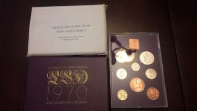 1970 Coinage of Great Britain & Northern Ireland Proof Set w Paperwork 8 Coins