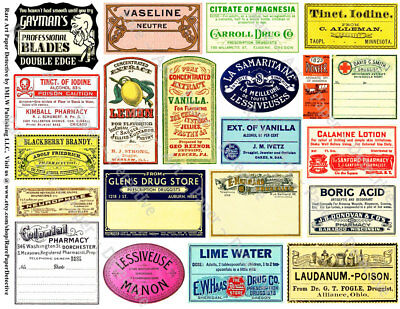 Apothecary Labels, 2 Sticker Sheets, Antique Druggist Stickers, Pill Bottle Art
