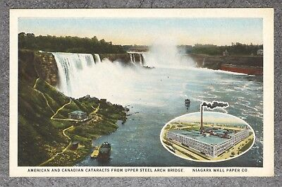 Vintage 1921 PC: American & Canadian Cataracts Niagara Wall Paper Co. Ad NY-MINT