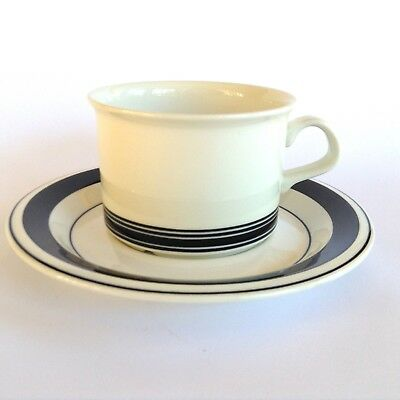 Vintage ARABIA Finland FAENZA Black White Coffee Cup & Saucer Duo PETER WINQVIST