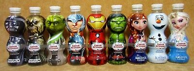 Star wars, the Avengers, frozen, bottles collectable empty plastic 9 PCs Russia.