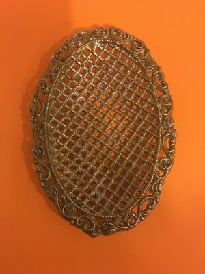 Vintage Ornate Solid Brass Victorian style Oval Soap Dish 1968 New Old Stock.USA