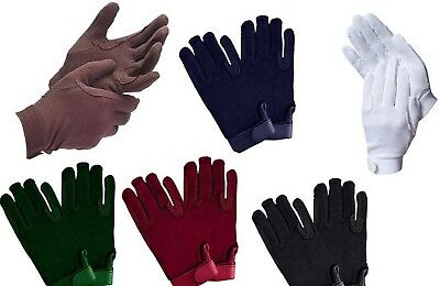 (Small, Navy) - Cotton Pimple Horse Riding Gloves With Hook and loop Wrist