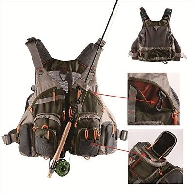 V-Style Mesh Fly Fishing Vest and Backpack Multi Pocket Fishing Chest Bag with