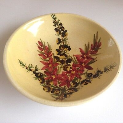 1950s MARTIN BOYD Australian Pottery Hand Painted Wildflowers Dish Bowl Guy