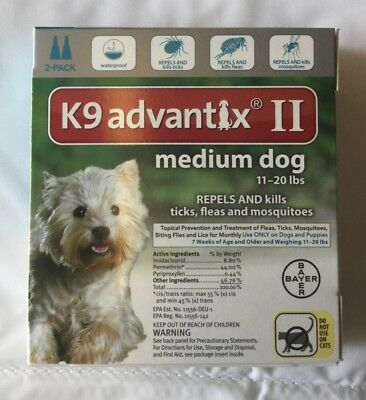 Bayer K9 Advantix ll médium Dog 11 - 20 lbs 2 pack EPA approved
