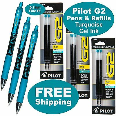 Turquoise Gel Ink, Pilot G2 07 Fine Point, 3 Pens With 3 Packs of Refills