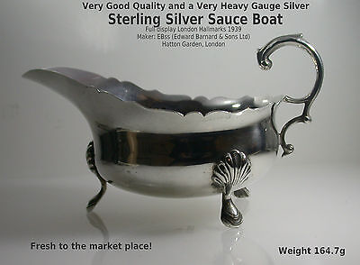 Silver Sauce / Gravy Boat Sterling Vintage London HM c1939 by Edward Barnard