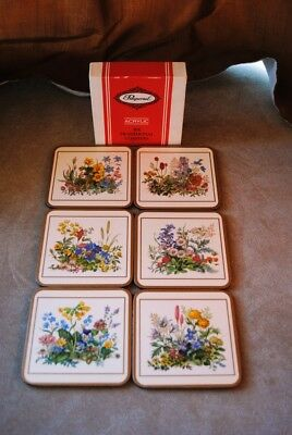 Pimpernel Meadow Flowers 6 Traditional Coasters United Kingdom  New in Box
