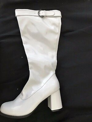 White Patent - Ladies 60s 70s Gogo Retro Boots Womens Knee High boots - Size 8