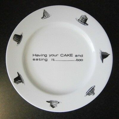 MODERN RETRO Have Your Cake & Eat It Too 31CM CAKE PLATE Fornasetti-ish Pix