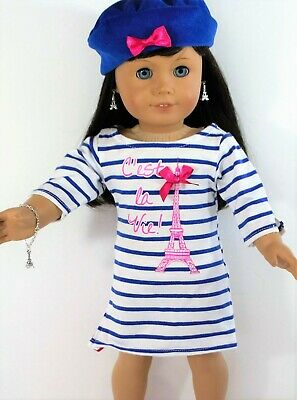 """Eiffel Tower Dress Beret Hat for 18"""" American Girl doll clothes"""