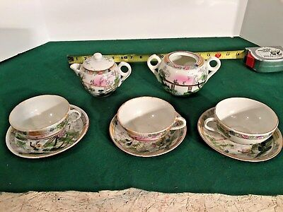 8pc > ANTIQUE Japanese HAND PANTED Teaset
