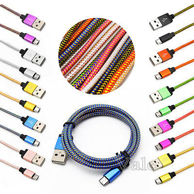 2M / 6FT Long Micro USB A to USB 2.0 B Braided Fast Data&Sync Charger Cable Cord