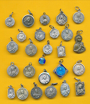 B113) Lot of 25 vintage heavy silvered Religious medal  St Therese of Lisieux