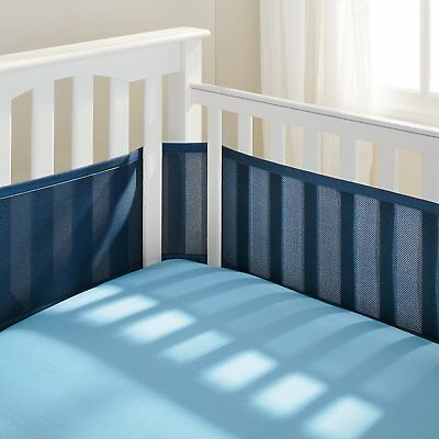BreathableBaby Breathable Infant Baby Bed Nursery Mesh Crib Liner Bumper Navy