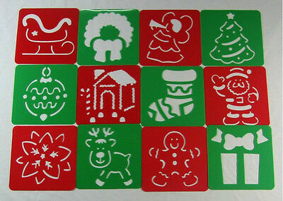 Plastic Stencil- Christmas (1 set in 12 different designs) for home, school, etc
