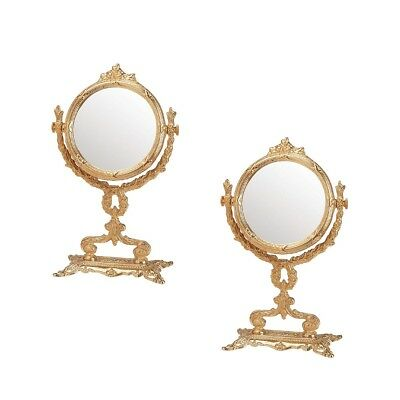 "Victorian Antique Vanity Mirror Cast Brass 12 1/4"" H Pack of 2"
