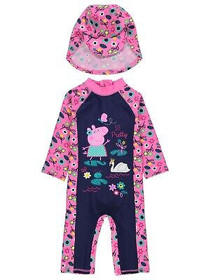 Girls UV Swimsuit with Hat Peppa Pig Sun Protection Sunsafe Surfsuit NEW BNWT