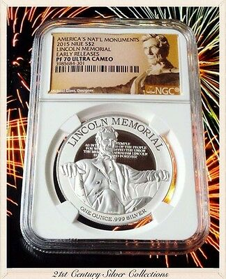 2015 Niue 1 Oz Silver American Nat'l Monuments Lincoln Memorial NGC PF70