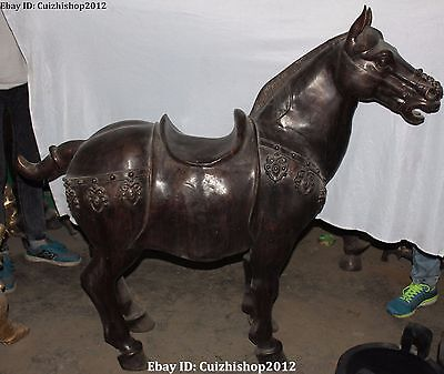 "55""China Chinese Fengshui Bronze running Success Zodiac Year Tang Horse Statue G"