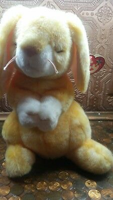 "Ty ""Grace"" Beanie Babies Collection  Yellow Bunny Rabbit Praying 2001 Plush NWT"
