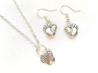 Chicken Necklace & Earrings Set Chick Hen Easter Farm Animal Gift Set