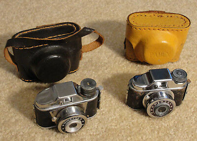 2 Vintage Japanese Mini Spy Cameras - Minetta & Pemex - w/film & leather case