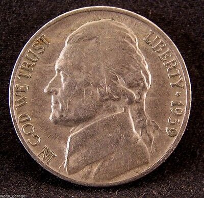 1939-S Jefferson Nickel, Circulated, Key Date, Mintage of 6.6 Million, Free Ship