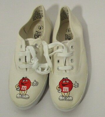 M&m's Women's 9 White W/ Red M&m Logo Embroidered Tennis Shoes New From 2000